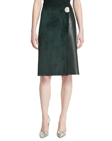 Leather A-Line Wrap Skirt, Forest Green