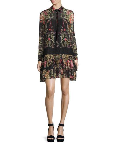 Floral-Print Georgette Shirtdress, Black