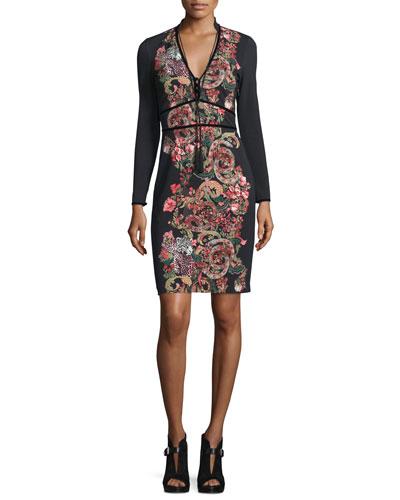 Long-Sleeve Tassel-Tie Jersey Dress, Black