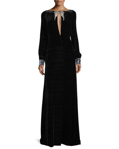 Long-Sleeve Velvet Wing-Detail Gown, Black