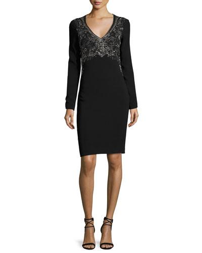 Long-Sleeve Embroidered V-Neck Dress, Black