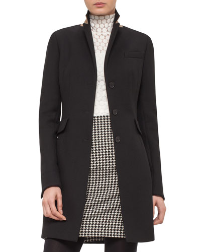 Long Gabardine Blazer Coat, Black