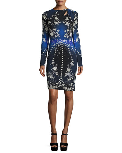 Floral & Star Long-Sleeve Sheath Dress, Blue