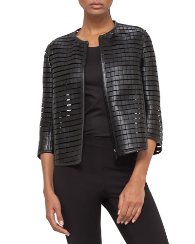 Faux-Leather Grid Trapeze Jacket, Black Pepper