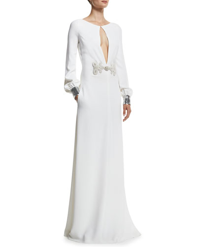 Long-Sleeve Keyhole Sequin-Cuff Gown, White