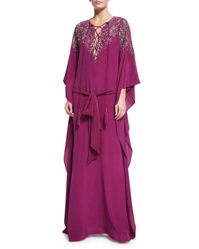 Embellished Crepe de Chine Caftan Gown, Pink