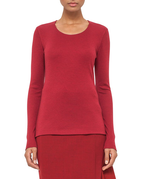 Cashmere-Blend Long-Sleeve Tee, Miracle Berry