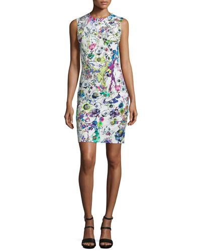 Sleeveless Floral Shift Dress, White