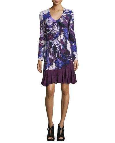 Long-Sleeve Floral Ruffle-Hem Dress, Purple