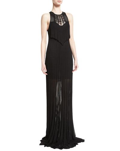 Sleeveless Macrame Knit Gown, Black