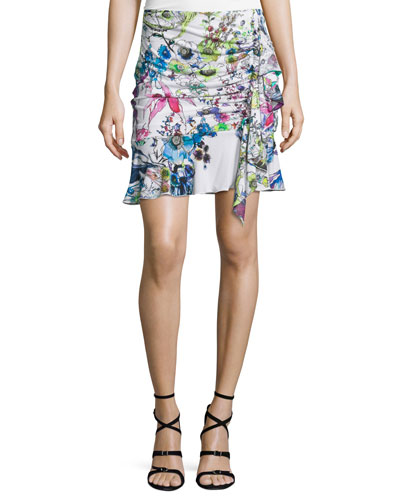 Floral-Print Ruffled Jersey Skirt, White