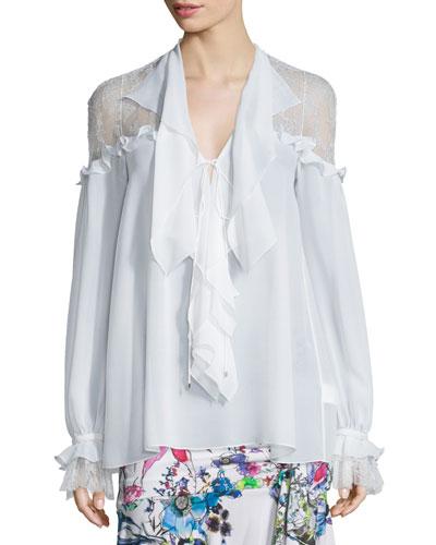 Long-Sleeve Ruffled Silk Georgette Blouse, White