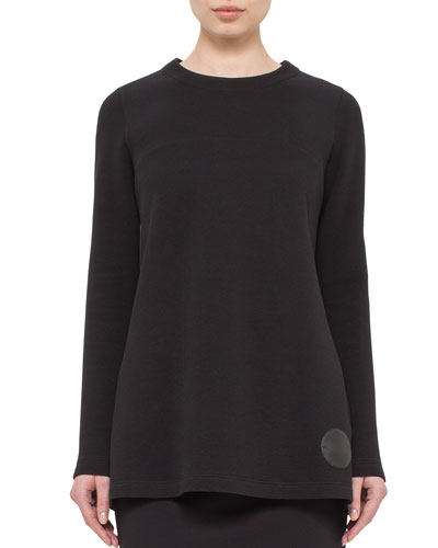 Cotton-Blend Jersey Pullover Top, Black