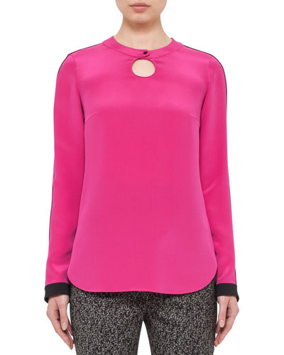 Long-Sleeve Keyhole Top, Pink