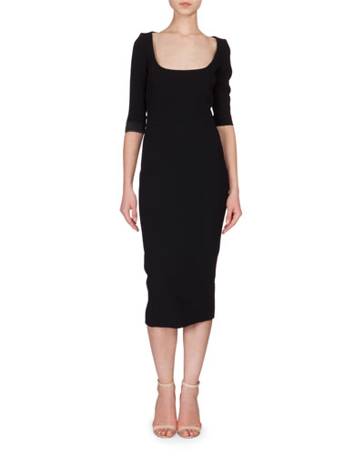 Scoop-Neck Half-Sleeve Midi Sheath Dress, Black