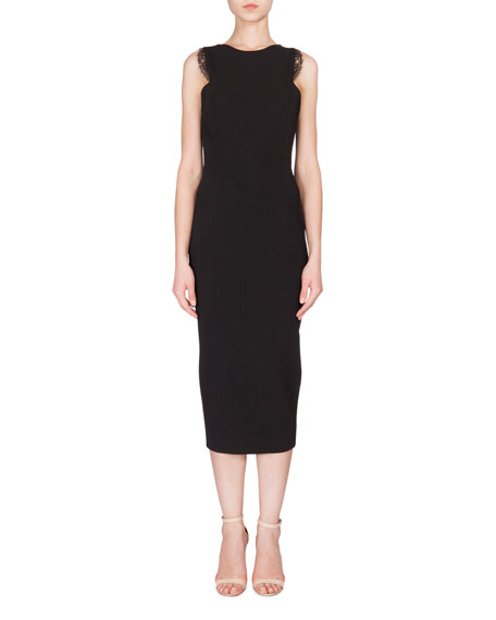 Victoria Beckham Lace-Trimmed Sleeveless Midi Sheath Dress, Black