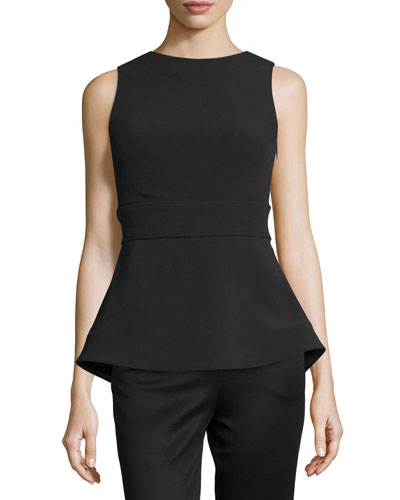 Sleeveless Cady Peplum Top, Black