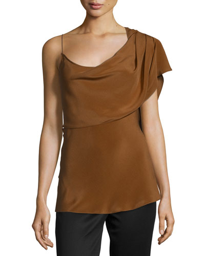Draped Silk Crepe Sleeveless Top, Henna