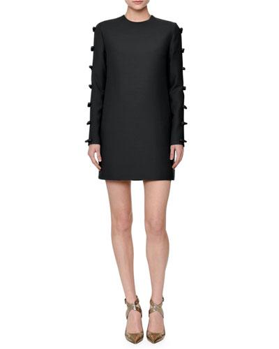 Bow-Embellished Skimmer Dress, Black