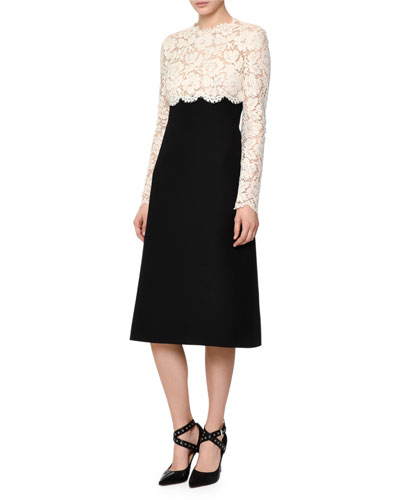 Floral Lace & Crepe Couture Combo Dress, Ivory/Black
