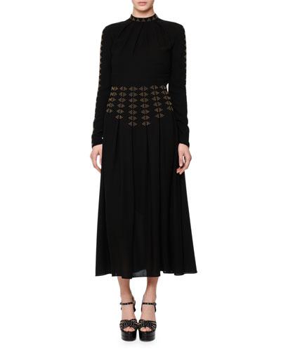 Studded Long-Sleeve A-Line Dress, Black