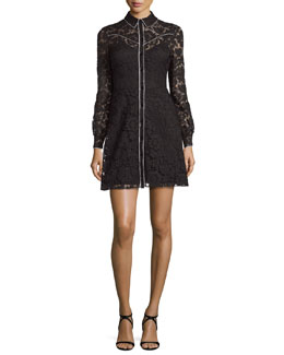 Long-Sleeve Piped Lace Shirtdress, Black/Ivory