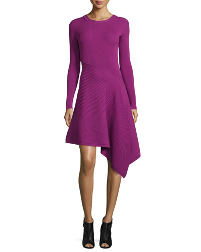 Knit Long-Sleeve Dress w/Asymmetric Hem, Orchid