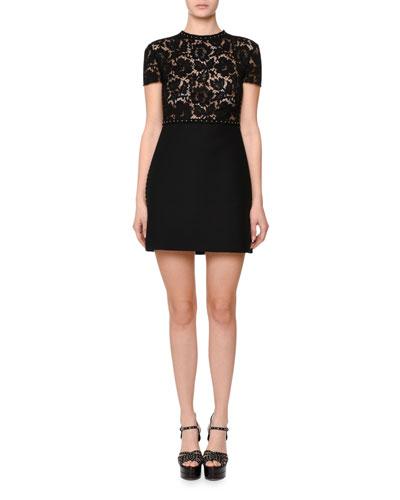 Short-Sleeve Lace Combo Dress, Black