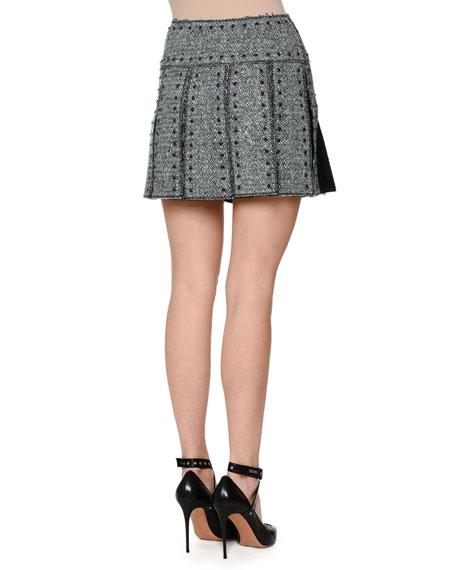 Studded Box-Pleat Tweed Skirt, Black/Ivory