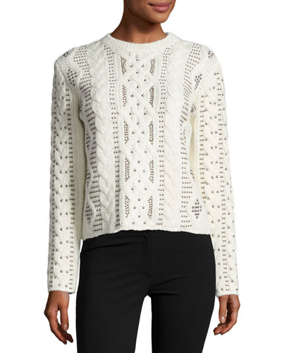 Studded Cable-Knit Sweater, Ivory