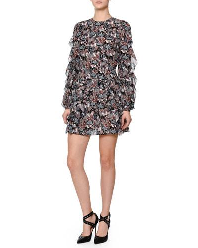 Ruffled Butterfly-Print Silk Dress, Multi