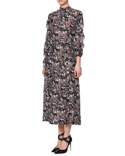 Bracelet-Sleeve Butterfly-Print Midi Dress, Multi