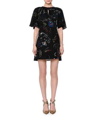 Flutter-Sleeve Astro Crepe Dress, Black/Multi