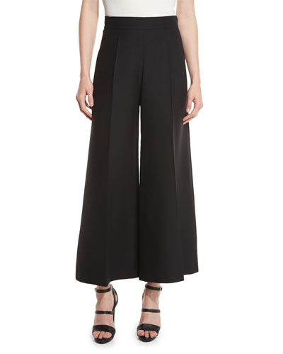 Wide-Leg Crepe Culottes, Black