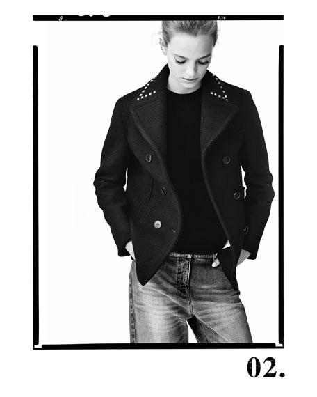 Wool Pea Coat w/Rockstud Collar, Navy
