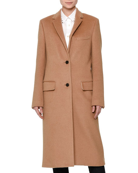 Long Wool Coat w/Rockstud Collar, Camel