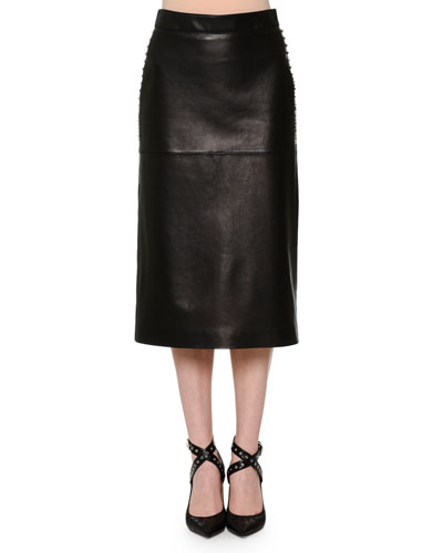 Leather Pencil Skirt w/Studded Sides, Black