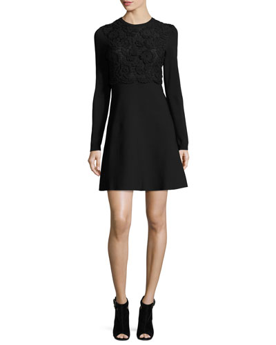 Embroidered Long-Sleeve A-Line Dress, Black