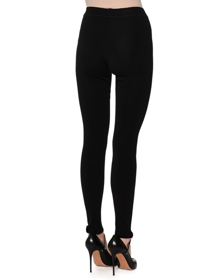 Slim-Leg Knit Leggings, Black