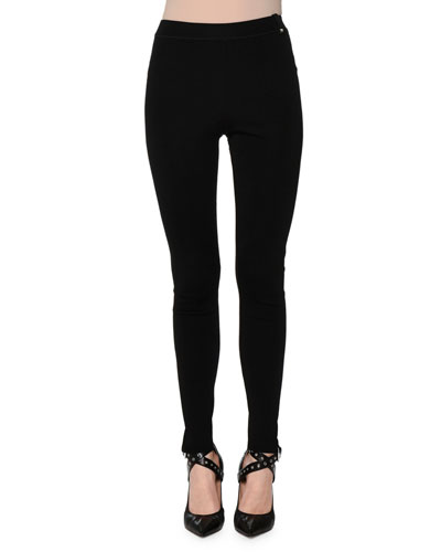 Slim-Leg Knit Leggings, Black