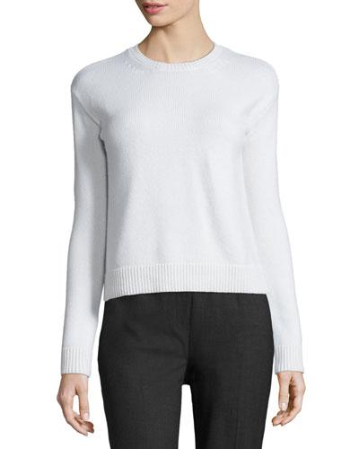 Long-Sleeve Knit Bow-Back Sweater, Ivory
