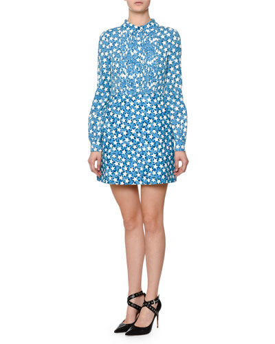 Long-Sleeve Star-Print Shirtdress, Blue Star