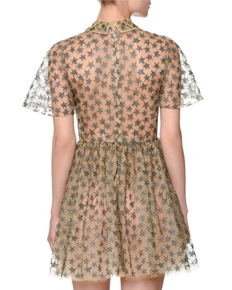 Star-Embroidered Tulle Net Shirtdress, Gold