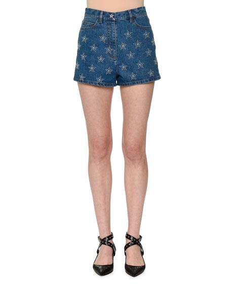 Star-Studded Denim Shorts, Blue