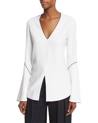 Bell-Sleeve Split-Hem Blouse, White