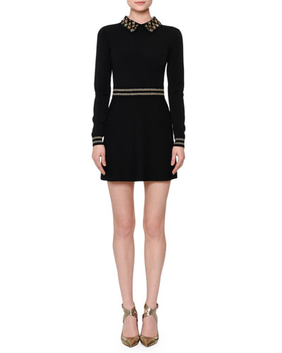 Long-Sleeve Star-Embellished Mini Dress, Black