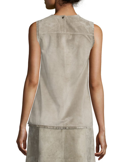 Sleeveless Fringed Suede Shell, Fawn