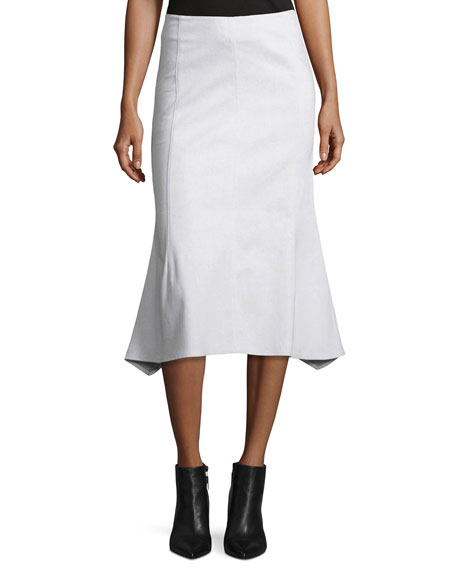 Flared Cotton-Blend Midi Skirt, White