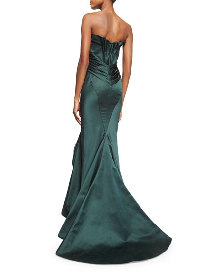 Pleated Strapless Satin Trumpet Gown, Emerald