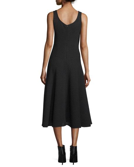 Sleeveless Cowl-Neck Midi Dress, Black
